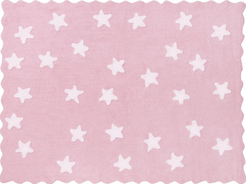 dywan herbatnik pudrowy w bia�e gwiazdki dywany